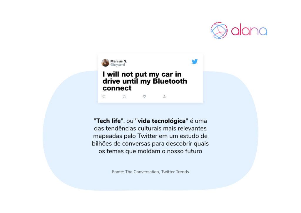 """Ilustração com print de publicação do Twitter e texto sobre a tendência""""Tech life"""", ou """"vida tecnológica"""""""