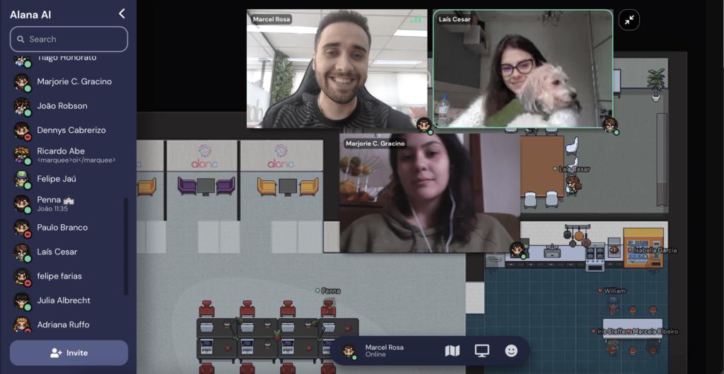 Ilustração de uma reunião através da plataforma digital Gather Town.